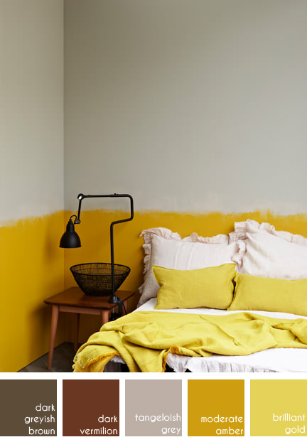 ochre bedroom from French Elle Deco magazine
