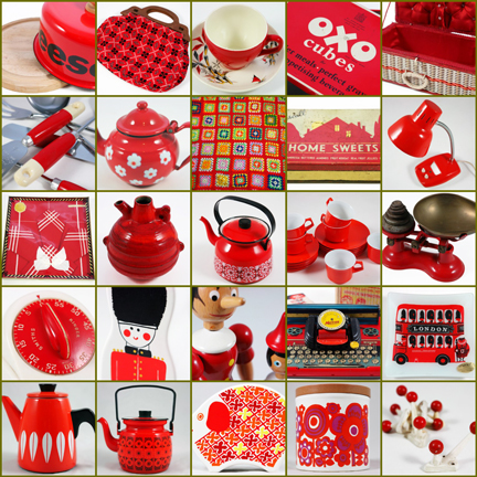 Mosaic of red vintage items available at H is for Home