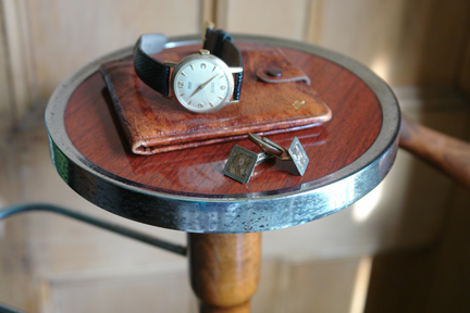 tabletop of the vintage gentleman's valet