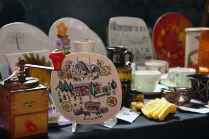 detail of H is for Home's table display at the Todmorden vintage fair