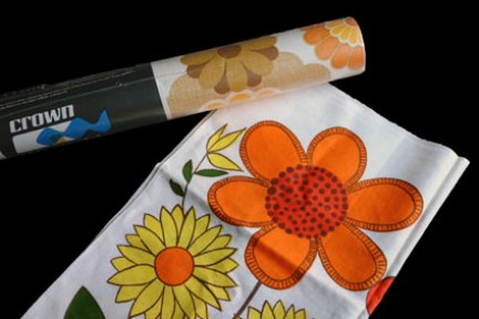 vintage homewares bought by H is for Home at the Manchester Vintage Home Show including 1970s Crown wallpaper and 1970s floral tea towel