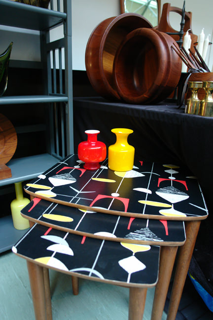 vintage wooden nest of tables with Marian Mahler design tops