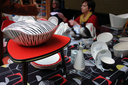 stall at Manchester Vintage Home Show selling Midwinter Zambesi pottery and other vintage mid century modern homewares