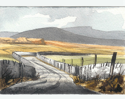 "small watercolour painting entitled, ""Dales Road"" by J A Hurley"