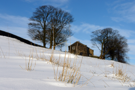 cottage on Todmorden Edge in the snow