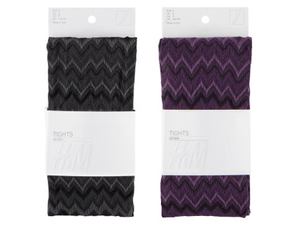 two pairs of H & M patterned tights in grey and purple