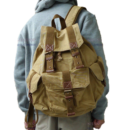 Khaki retro styled canvas rucksack