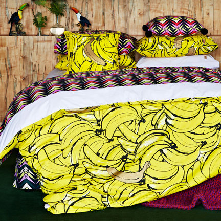 bananas patterned duvet cover and cushion covers from Kip & Co, Australia