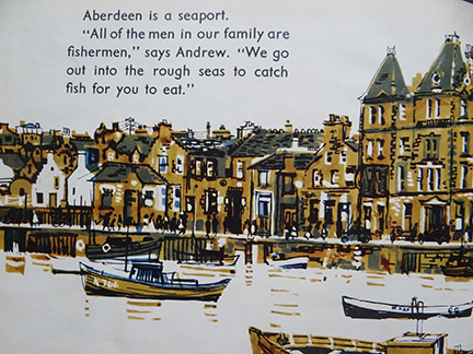 vintage World Dolls Series Scotland children's book with illustration of houses and boats in Aberdeen