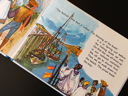 illustration of the festival of the Blessing of the Boats from the France edition in the World Dolls Series of children's books