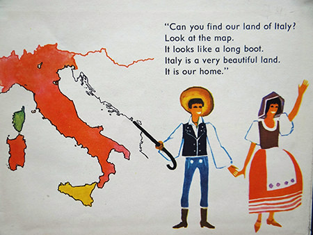 Map of italy from the vintage World Dolls series of books