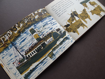vintage World Dolls Series Scotland children's book with illustration of a steamboat and highland cattle