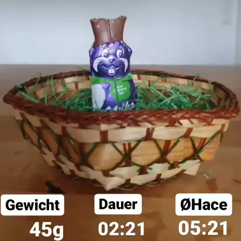 HACE: Zeiteinheit um 100g Hasen-Schokolade zu vernichten. 🍫⏰ . Habe…