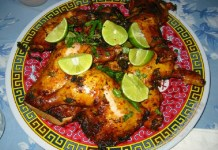 Cuban Achiote Marinated Chickens Stuffed with Chorizo and Mustard Greens recipe