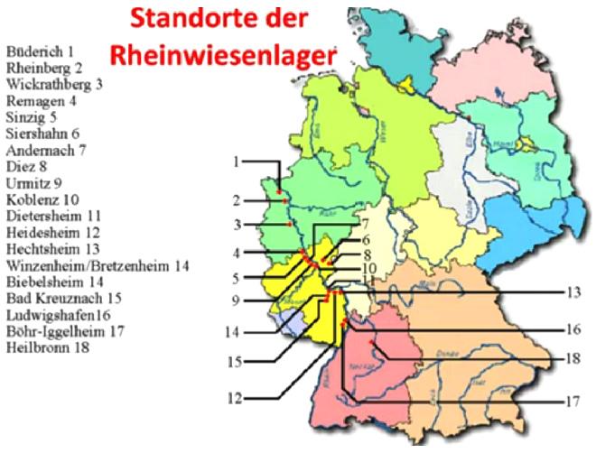 Karte von Deutschland                         mit den Rheinwiesenlagern vom Sommer 1945