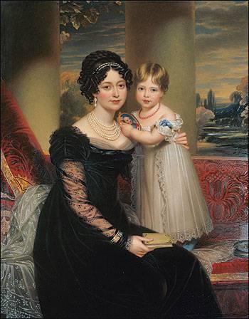 La duchesse de Kent et sa fille, Victoria (qui tient un portrait du défunt duc de Kent) par Henry Bone