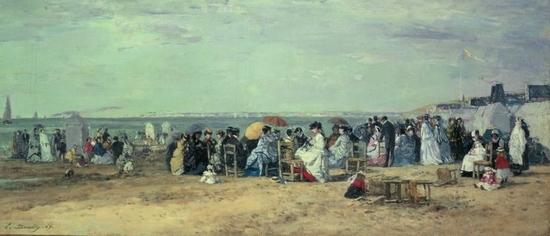 La plage de Trouville par Eugène Boudin