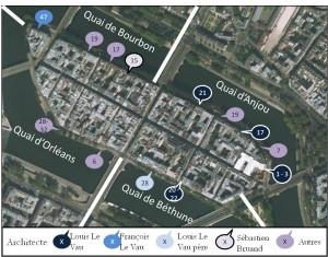 Carte des immeubles remarquables de l'île Saint Louis