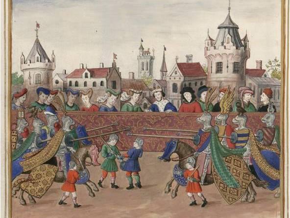 Miniature tournoi joutes rue saint Antoine 1389