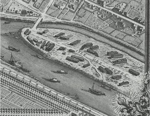 île des cygnes plan de Turgot 1739