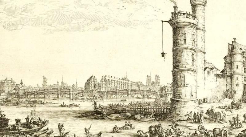 Extrait de la Vue du Pont Neuf et la Tour de Nesle par Jacques Callot