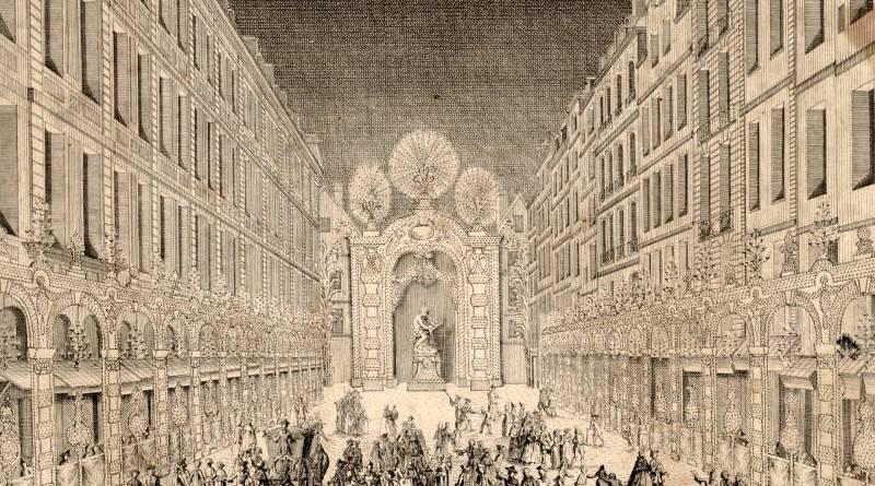Illumination du carrefour rue de la ferronnerie et rue Saint Denis par les Six Corps en 1745 par Martin Marvye