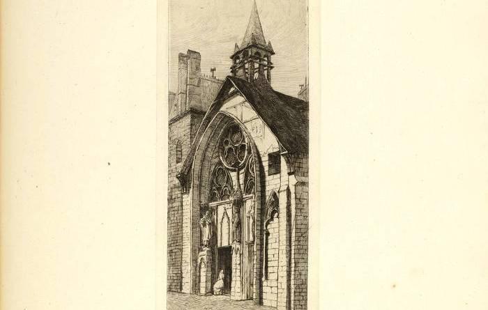 Porche de Saint Julien des Ménétriers estampe de Martial Potémont