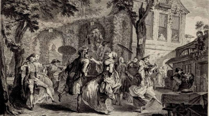 La Guinguette par F Basan d'après Augustin Saint Aubin