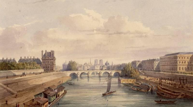 Les deux rives de la Seine à hauteur des Tuileries par Gaspard Gobaut