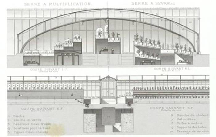 serres du jardin fleuriste de la Muette extrait des Promenades de Paris par A Alphand