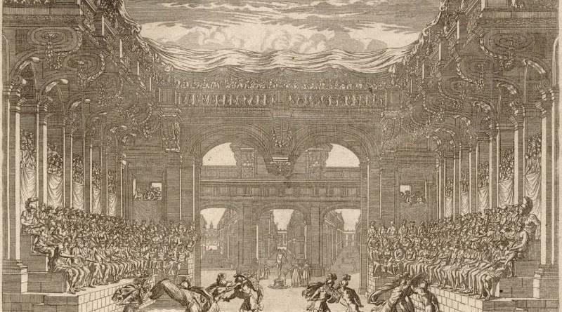 Décoration de Théâtre du Ballet de Thétis représenté en machine au théâtre du Petit-Bourbon par Crépy