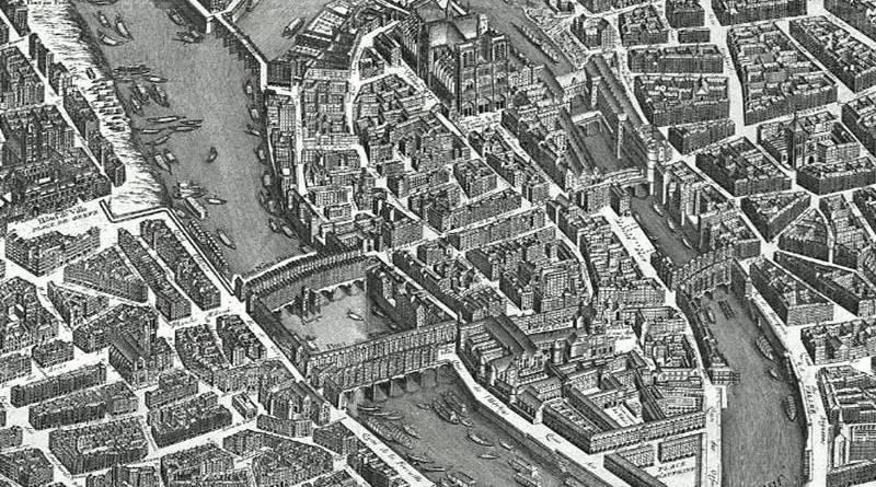ile de la Cite au XVIIIe siècle - extrait du plan de Turgot en 1739