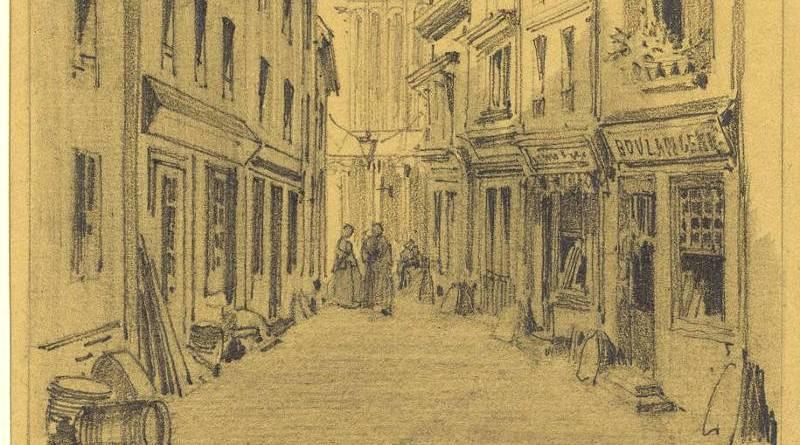 Rue Nicolas Flamel avec vue sur la Tour Saint Jacques au XIXe siècle