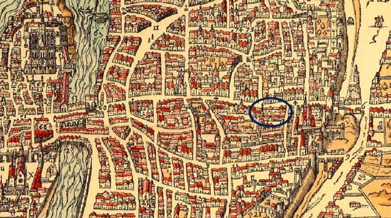 le collège de la Sorbonne extrait du plan de Belleforest en 1575