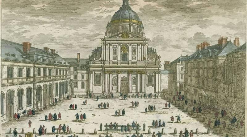 vue et perspective de l'église de la Sorbonne par Adam Perelle en 1670