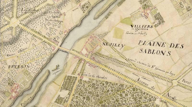 carte en 1800 de Neuilly sur Seine et la plaine des Sablons