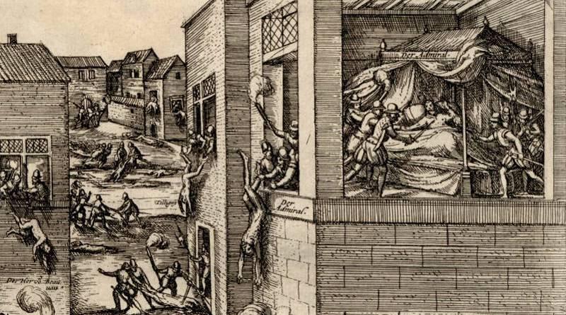 Assassinat de l'Amiral de Coligny rue de Béthizy lors du massacre de la Saint Barthélémy par Hogenberg