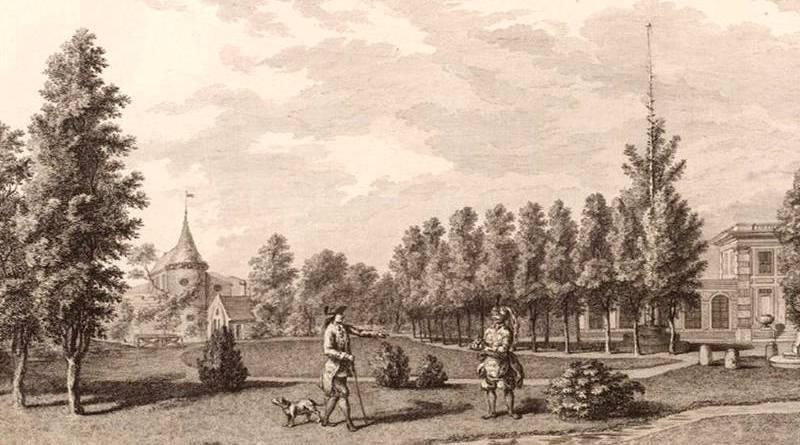 la rivière du jardin du duc de Chartres donnant sur l'entrée du domaine
