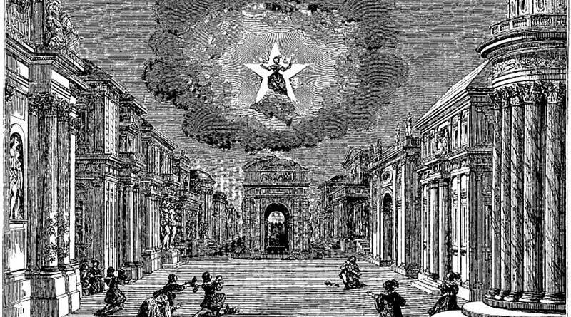 décor du premier acte de l'Andromède de Corneille