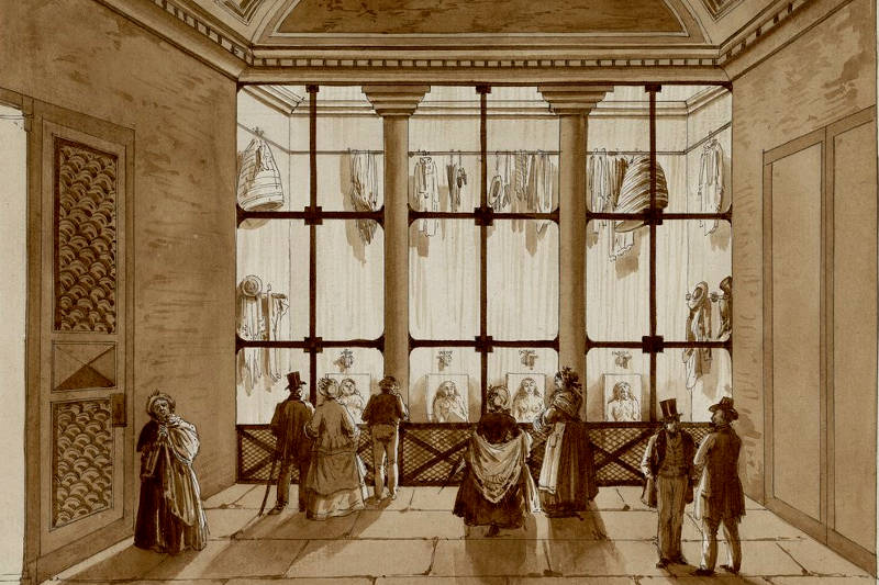 Vue intérieure de la morgue du Marché neuf en 1845 par Carré