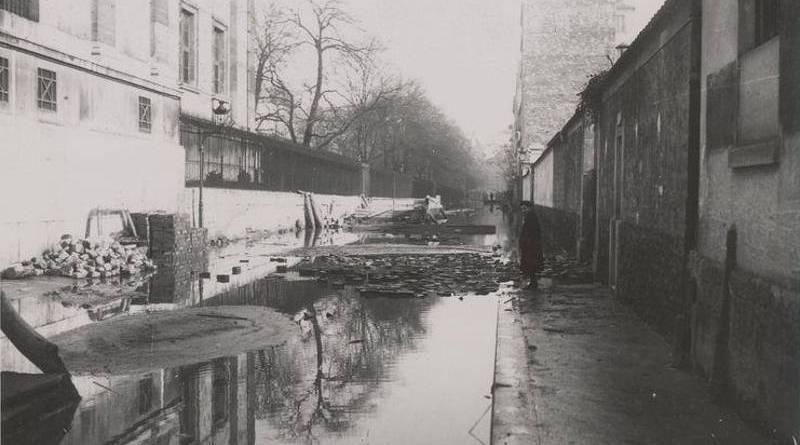 rue Buffon lors de l'inondation de 1910