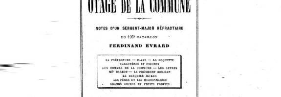 couverture des souvenirs d'un otage de la commune par Ferdinand Evrard