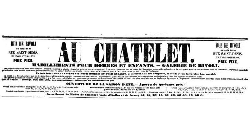 publicité pour le magasin du Châtelet