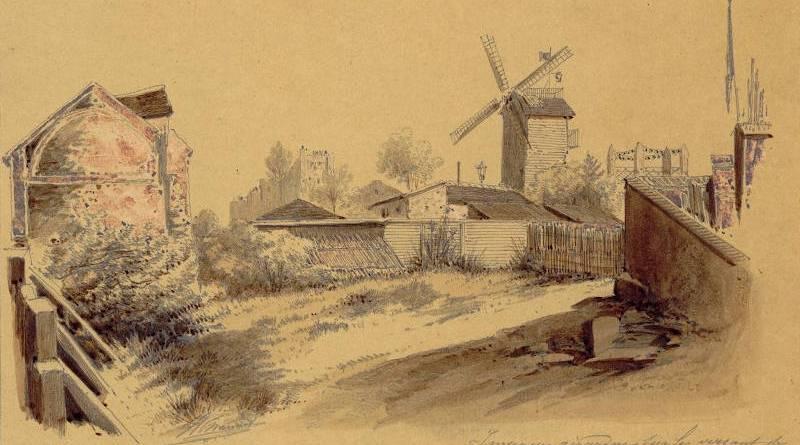 Impasse Girardon sur le versant de la butte Montmartre par Jules Adolphe Chauvet