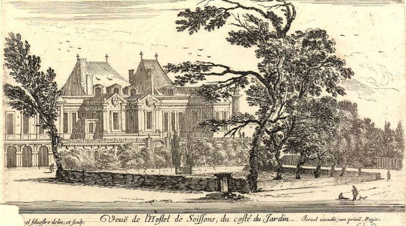 Vue de l'hostel de Soissons du côté du jardin par Israêl Silvestre - Numelyo