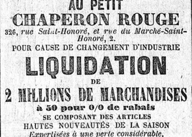 publicité pour la liquidation du Petit Chaperon Rouge extraite du Constitutionnel du 3 mai 1869