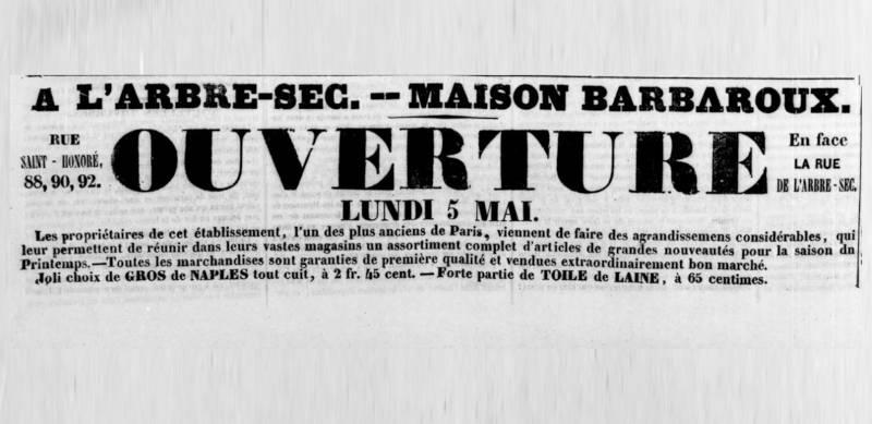 publicité pour le magasin Maison Barbaroux publiée dans la Quotidienne du 4 mai 1845