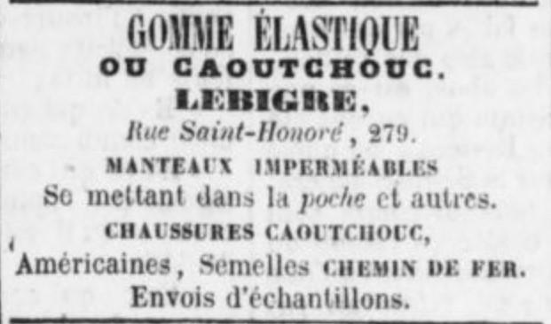 publicité pour la maison Lebigre parue dans la Gazette du 22 décembre 1851