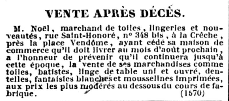 publicité pour la vente du magasin à la crèche publiée dans le Journal des débats politiques et littéraires du 31 mai 1831