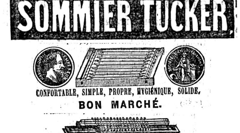 publicité pour les sommiers Tucker paru dans le Temps du 5 décembre 1861